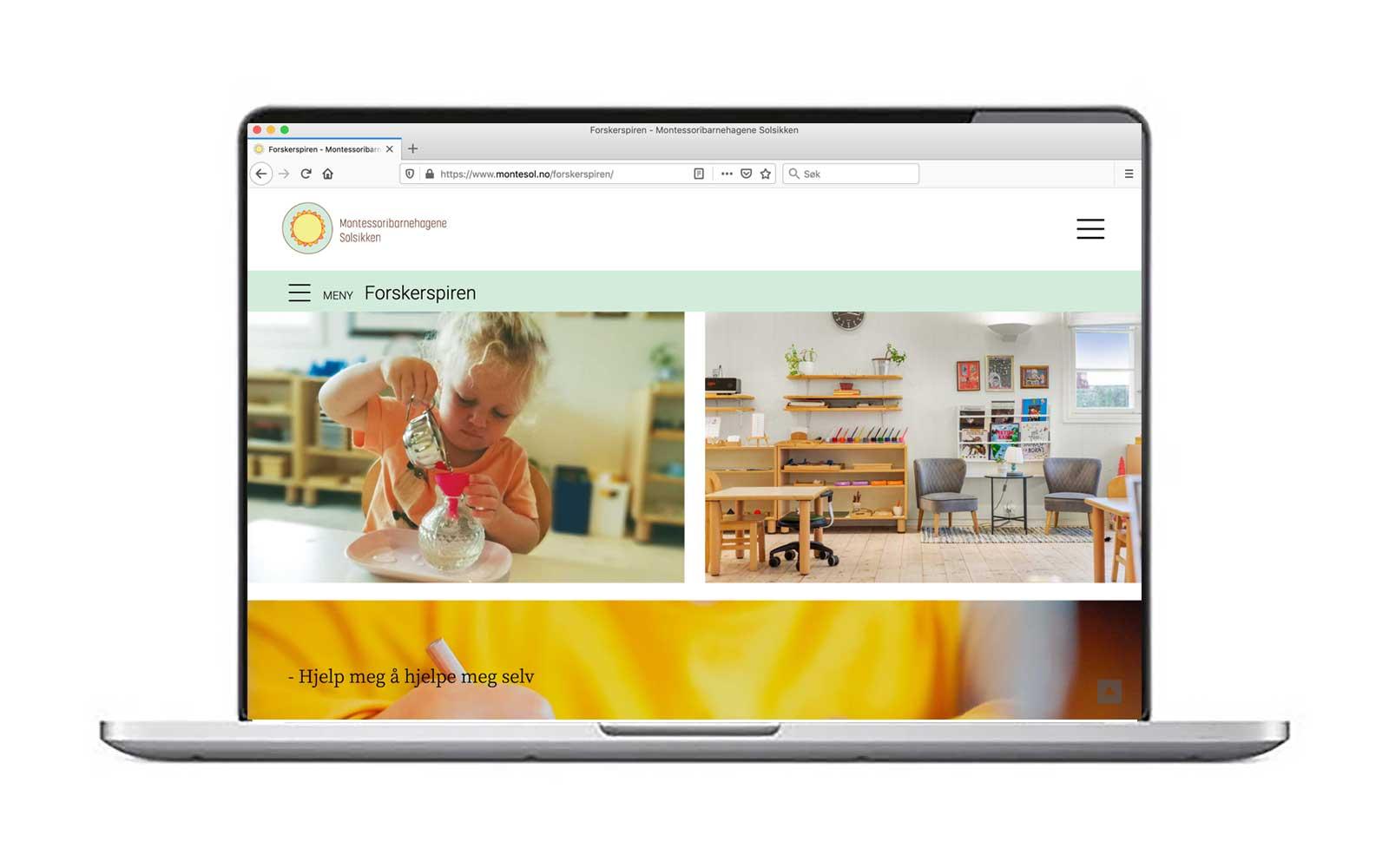 Montessoribarnehagene – detalj fra nettsiden
